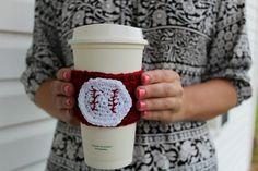 Baseball Crochet Coffee Sleeve / Trendy by threesheepshack on Etsy