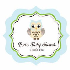 Look Whooo/'s 24 Blue Baby Boy Owl Personalized With Name Baby Shower Favor Tag