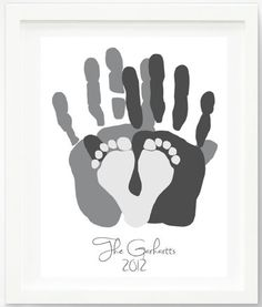 Mother's Day handprint and footprint gifts:  Personalized Family Portrait Print by Pitter Patter Print at Etsy