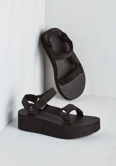 I Wanna Walk With You Sandal. Walk the night away in these black flatform sandals from Teva! #black #modcloth