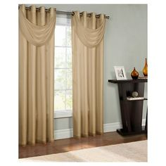 Thermavoile Rhapsody Lined Grommet Top Curtain Panel, Brown