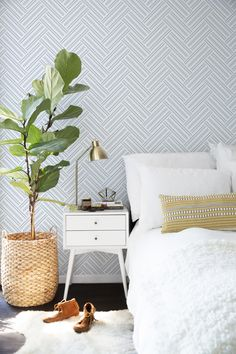 Blue peel&stick wallpaper with herringbone pattern. Printed with matte finish. Modern, classy design, great bedroom wall decoration. #wallcovering #removable #herringbone #wallmurals #bedroomdecor #walldecor #removablewallpaper #decor #pattern
