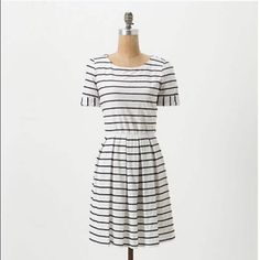 Anthropologie Scalloped Striped Bordeaux dress EUC! White with navy stripes, size PXS. There was some fabric added at the hem (to make dress longer) which can be removed...see last picture. Anthropologie Dresses