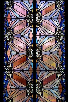 Art Deco stained glass window, Boston Avenue Methodist Church, Tulsa, Oklahoma.   Photo: Treescaper via Flickr.