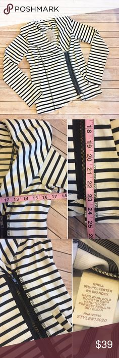 Size small striped moto jacket! Super cute Moto Jacket! Loving this look! Measurements and fabric content are pictured! Size small. No trades. NWT Jackets & Coats Blazers