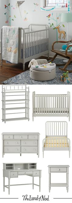 Our timeless Jenny Lind Furniture Collection is now available in a neutral, easy-to-coordinate grey finish. Choose from a kids bed, crib, dresser and more.