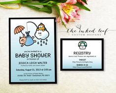 Super Mario Brothers Lakitu Baby Shower Invitation - Boy, Girl, or Gender Neutral - from The Inked Leaf on Etsy. #geekchic #mario