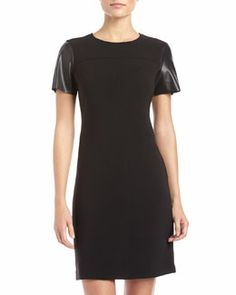 T75N1 Donna Morgan Faux-Leather-Sleeve Crepe Dress, Black