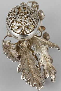An unusual Birmingham silver table pomander, reputedly designed by Ron…