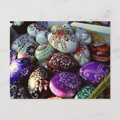 Shop Colorful Painted Easter Eggs Postcard created by TimefortheHolidays. Personalize it with photos & text or purchase as is! Egg Crafts, Easter Crafts, Diy And Crafts, Easter Egg Designs, Easter Ideas, Apple Roses, Egg Art, Holiday Postcards, Egg Decorating