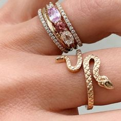 We love a good linear cluster ring design! This pink beauty reminds us of summertime Right Hand Rings, Cluster Ring, Ring Designs, Pink Dress, Pretty In Pink, Summertime, Sapphire, Feminine, Engagement Rings