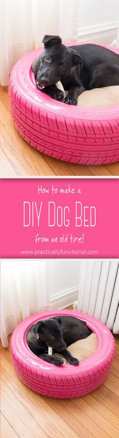 Turn an old tire into a DIY dog bed: It's quick and easy to do, and a great way to recycle an old tire! All you need is spray paint and a round bed! #DogBed