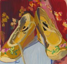 Gouache - Linda Hunt Fine Art Still Life 2, Shoe Art, Art Shoes, Paintings I Love, Oil Paintings, Satin Shoes, Painted Shoes, Prismacolor, Fine Art Gallery