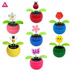 96 Solar Dancing Flowers, Bees, Butterflies, Ladybugs, Soccer Pots, And More Assorted Wholesale Pack Of 96