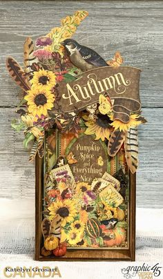 Autumn Home Decor Tray, Seasons, Tutorial by Katelyn Grosart, Product by Graphic 45 Scrapbooking Shabby, Paper Art, Paper Crafts, Fall Banner, Wink Of Stella, Handmade Tags, Fall Projects, Thanksgiving Cards, Fall Cards