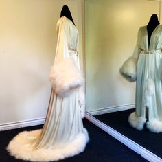 "Image of Silk Lined ""Rita"" Silk Charmeuse Gown w/ Marabou Cuffs & Hem"