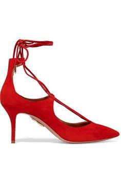 AQUAZZURA Christy Lace-Up Suede Pumps. #aquazzura #shoes #pumps