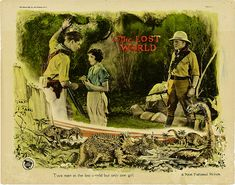 Lloyd hughes wallace beery bessie love in the lost world 1925 the lost world lobby card 1925 fandeluxe Images