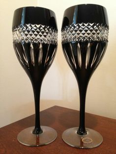 Pair Ajka Black Cut Clear Crystal Wine Stems Flutes Goblets John Rocha Style