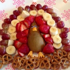 Made this today great fun idea for the kids  Thanksgiving fruit platter