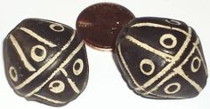 20th century 2 Large African Black Etched Handmade Spindle Whorl Clay Beads 30mm 3 4mm Hole | eBay