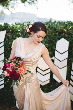Inspired by peanuts and cotton, Georgia's lesser known stars, this wedding inspiration shoot features reds and burgundy set against golds creating a modern DIY look.