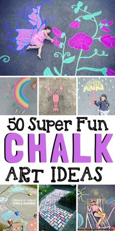 summer kids Here are 50 summer sidewalk chalk art ideas that are guaranteed to inspire you this summer. These fun chalk art projects are a great way to spend warm summer days being creative with the kids. Babysitting Activities, Craft Activities, Summer Activities, Chalk Photos, Art For Kids, Crafts For Kids, Crafts Cheap, Toddler Crafts, Foto 3d