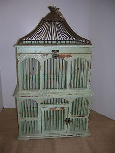 Large Metal & Wood Chippy Green Painted Birdcage French Country