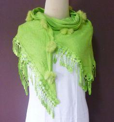 90d6d0f694 Items similar to Light green Triangle scarf 57 x 27 inch   lace shawl    women scarf   winter shawl   pom pom scarf   gift ideas on Etsy