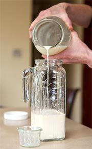 Making Organic Coconut Milk Kefir at Home    Necessary Ingredients:        1 Quart Jar (Glass)      1 Wooden Mixing Spoon      1 Quart of Undiluted Sweetened Organic Coconut Milk      2 Tablespoons of organic live Kefir Grains (Available online)