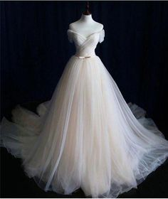 Cheap Glorious Simple Wedding Dresses, Champagne Prom Dress, Long Wedding Dresses - wedding and engagement photo Western Wedding Dresses, Long Wedding Dresses, Princess Wedding Dresses, Tulle Wedding, Bridal Dresses, Wedding Gowns, Boho Wedding, Party Wedding, Champagne Wedding Dresses
