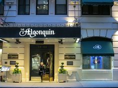 Algonquin Hotel, 59 West 44th Street, New York City. Site in the 1920s of the daily meetings of the Algonquin Round Table, a group of journalists, authors, publicists and actors who gathered to exchange bon mots over lunch in the main dining room. The group included Frankin P. Adams, Robert Benchley, Heywood Broun, Marc Connelly, Jane Grant, Ruth Hale, George S. Kaufman, Neysa McMein, Dorothy Parker, Harold Ross, Robert E. Sherwood and Alexander Woollcott. April 5, 2013.