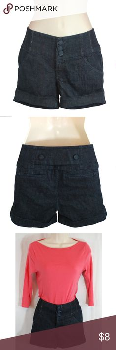 Dark Navy High Waist Cuffed Button Fly Shorts Great condition size 5 high waist navy denim cuffed shorts with thick waist band, three button fly, and two usable pockets in front.  The back of the shorts have two decorative no-use pockets. Boom Boom Jeans Shorts Jean Shorts