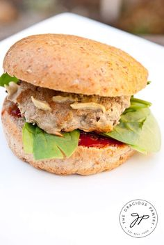 Homemade, Clean Eating Baked Turkey Burgers are a delicious option for burger night! Enjoy more than 1000 clean eating recipes at TheGraciousPantry.com.
