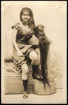 Long Hair Bearded Lady    Taken in Sioux City, I., August 28, 1919.