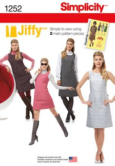 Misses' vintage Jiffy dress or jumper for miss and miss petite features two main pattern pieces for a simple-to-sew versatile look. Sew the look with Simplicity pattern 1252.