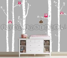 Owls and Birch Tree Forest Wall Decal Birch by InAnInstantArt, $72.00 (white birch trees, red/yellow owls, turquoise bird house)