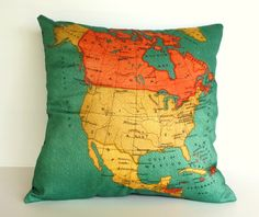 vintage map throw pillows - great for kids!