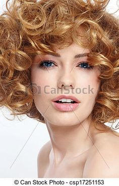 Stock Photo - Beauty with curly hair - stock image, images, royalty free photo, stock photos, stock photograph, stock photographs, picture, pictures, graphic, graphics