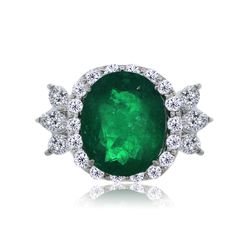 Platinum 11.98ct Colombian Emerald and Diamond Cocktail Ring #Cocktail
