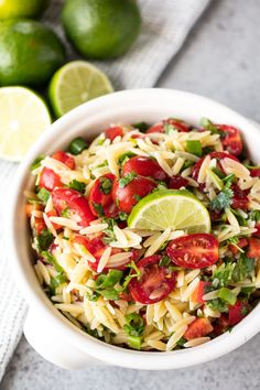 Cilantro-Lime Orzo Pasta Salad is light, refreshing, delicious, and perfect for picnics, potlucks, and backyard barbecues. #pastafoodrecipes