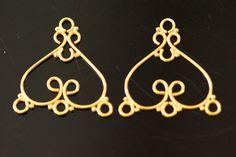 24k gold vermeil chandelier sold by set 25x23 mm by vlvp on Etsy, $9.75