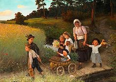 Farmer's Children With Their Young Mother On Their Way Home