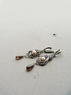 Smoky quartz silver earrings - Dangle earrings - Bridal jewelry - Wedding jewelry- Gift for women
