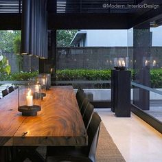 Wood Slab dining table... Also Follow @Top.Interiors