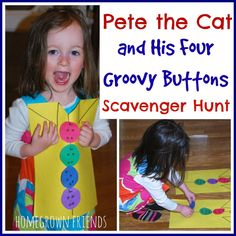 Get moving with this fun Pete the Cat Scavenger Hunt!  My kids kept asking to play again and again!  I love that it is easy to create!