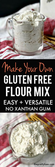 This gluten free flour mix is just right for all of your gluten free baking needs! No scale needed, and no xanthan gum required! Just simple ingredients that produce a great result.