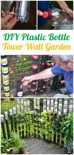 DIY Vertical Plastic Bottle Tower Gardening Instructions - DIY Plastic Bottle #Gardening; Projects & Ideas