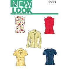 New Look Pattern 6598 Women's Top New Look Patterns, Sewing Patterns, Simplicity Patterns, Jacket Pattern, Top Pattern, New Look Women, Dress Making Patterns, Shirt Bluse, Sewing Clothes