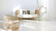 The Nest Collection of the Danish product and furniture designer duo Foersom & Hiort-Lorenzen is the last trend of indoor furniture. The exclusive rattan Zen Furniture, Furniture Design, Furniture Outlet, Furniture Stores, Furniture Ideas, Rattan Armchair, Sofa Chair, Wicker Sofa, Lounge Sofa